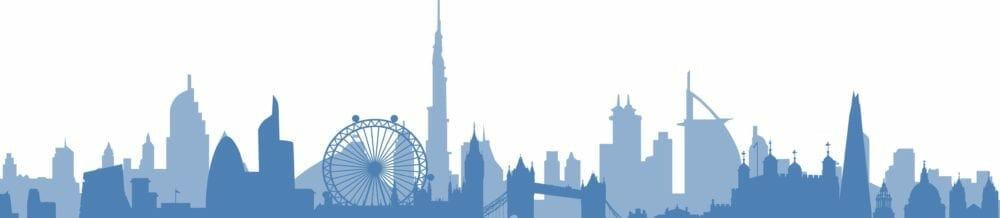 London and Dubai skylines merged